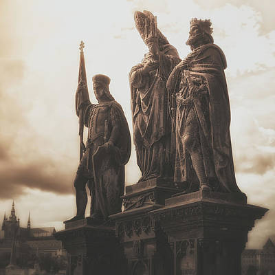 Statues Along Karl Bridge  Prague Print by Robert Schenck