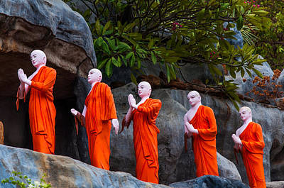 Statues Of The Buddhist Monks At Golden Temple Print by Jenny Rainbow