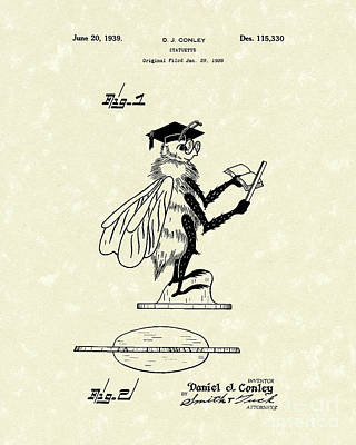 Cricket Drawing - Statuette 1939 Patent Art by Prior Art Design
