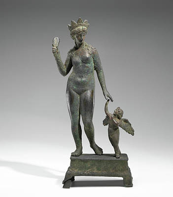1st Base Drawing - Statuette Of Aphrodite And Eros On A Base Unknown Probably by Litz Collection