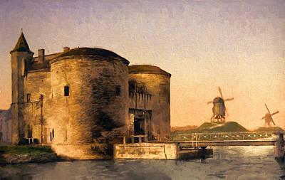 St. Croix Gate In Bruges Print by John K Woodruff