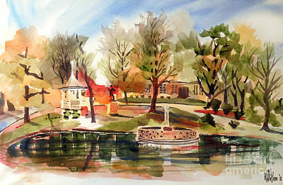Autumn Scenes Mixed Media - Ste. Marie Du Lac With Gazebo And Pond II by Kip DeVore