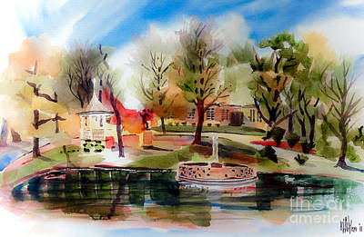 Autumn Scenes Mixed Media - Ste. Marie Du Lac With Gazebo And Pond IIi by Kip DeVore