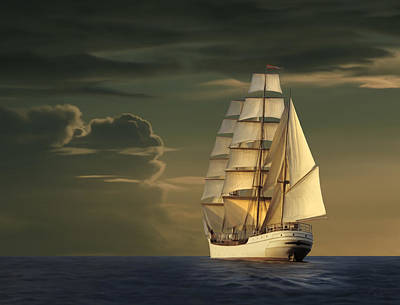 Historic Schooner Painting - Steadfast Voyage by James Charles