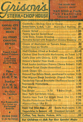 Steak House Wooden Menu Print by Underwood Archives