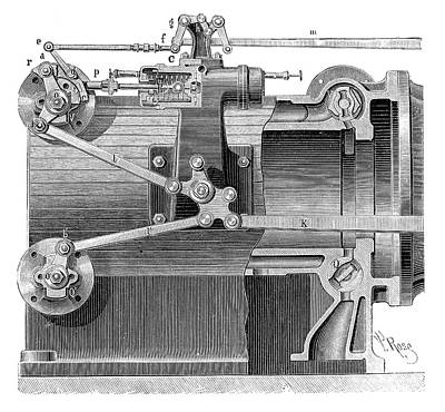 Steam Engine Distributors Print by Science Photo Library
