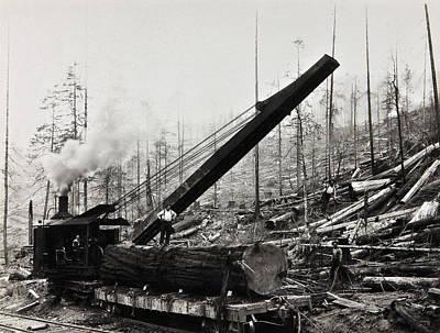Steam Loader Loading Logs C. 1890 Print by Daniel Hagerman