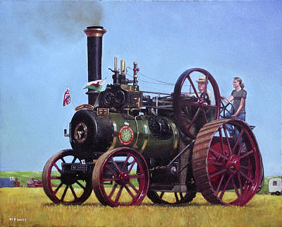 Steam Tractor Painting - steam traction engine Ransomes Sims and Jefferies General Purpose Engine by Martin Davey