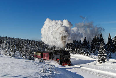 Train Photograph - Steam Train To The Winterly Brocken Mountain by Christian Spiller