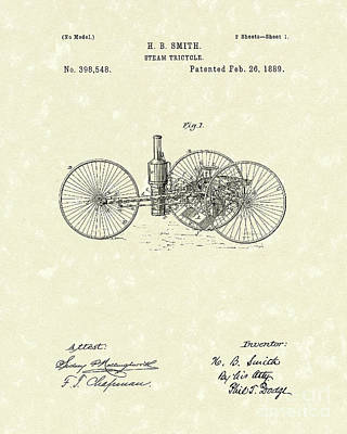 Tricycle Drawing - Steam Tricycle 1889 Patent Art by Prior Art Design