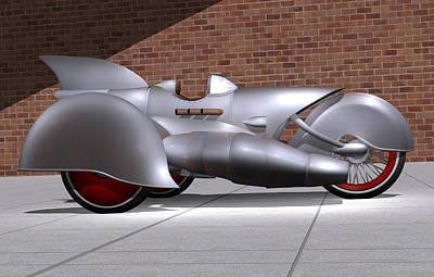 Prototype Digital Art - Steam Turbine Trike  by Stuart Swartz