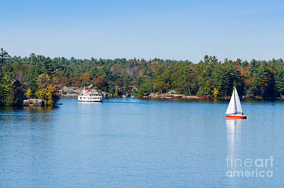 Muskoka Photograph - Steamboat Cruiser And Sailboat On Blue Lake by Les Palenik