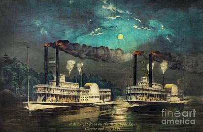 Steamboat Racing On The Mississippi Print by Lianne Schneider