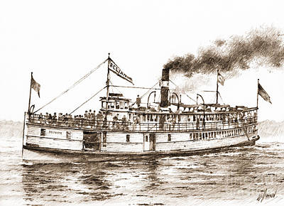 Steamboat Reliance Sepia Print by James Williamson