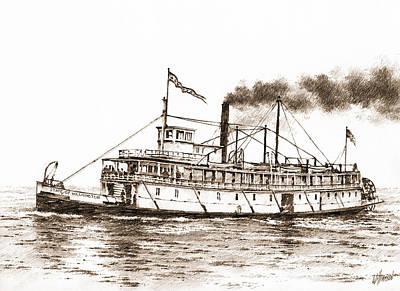 Steamboat State Of Washington Sepia Original by James Williamson
