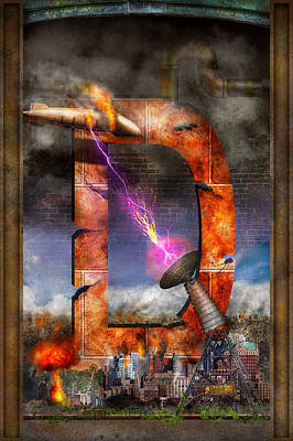 Apocalyptic Digital Art - Steampunk - Alphabet - D Is For Death Ray by Mike Savad