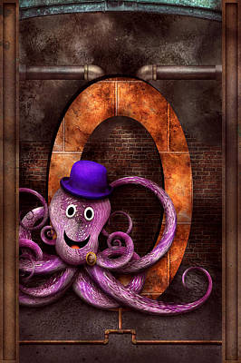 Suburban Digital Art - Steampunk - Alphabet - O Is For Octopus by Mike Savad