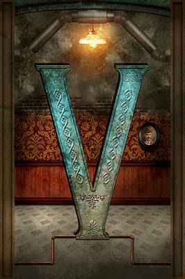Victorian Digital Art - Steampunk - Alphabet - V Is For Victorian by Mike Savad