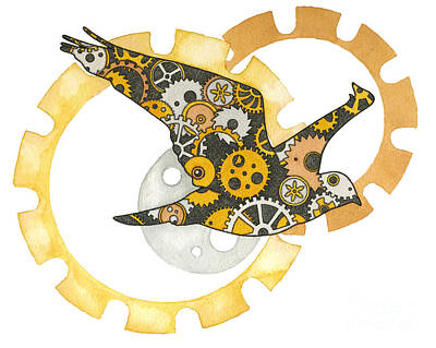 Steampunk Bird Print by Nora Blansett