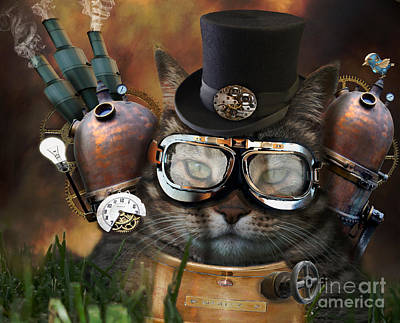 Steampunk Cat Print by Juli Scalzi