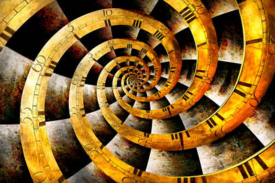 Abstract Photograph - Steampunk - Clock - The Flow Of Time by Mike Savad