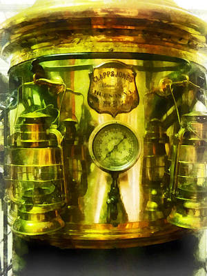 Steam Punk Photograph - Steampunk - Gauge And Two Brass Lanterns On Fire Truck by Susan Savad