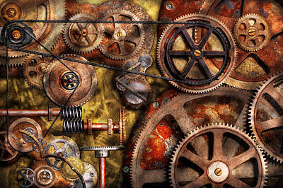 Suburban Photograph - Steampunk - Gears - Inner Workings by Mike Savad