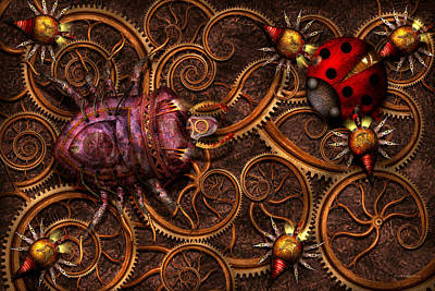 Steampunk - Insect - Itsy Bitsy Spiders Print by Mike Savad