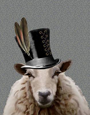 Steampunk Sheep Print by Kelly McLaughlan