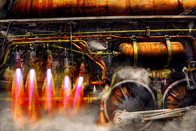 Steampunk - Train - The Super Express  Print by Mike Savad