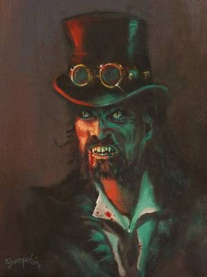 Goggles Painting - Steampunk Vampire by Tom Shropshire