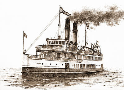 Steamship Tacoma Sepia Print by James Williamson