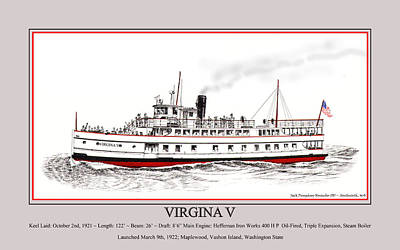 Linked Mixed Media - Steamship Virginia V Launch Poster by Jack Pumphrey
