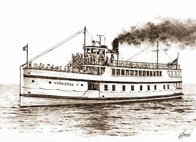 Steamship Virginia V Sepia Original by James Williamson