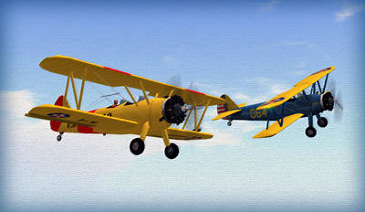Bi Plane Digital Art - Stearmans At Play by Mark Weller