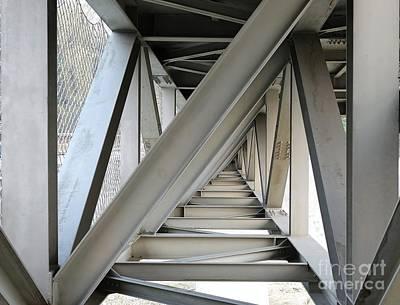 Steel Girder Bridge Seen From Below Print by Yali Shi