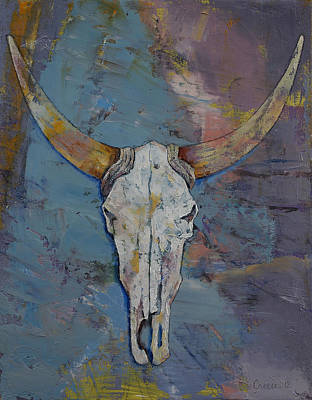 Steer Skull Print by Michael Creese