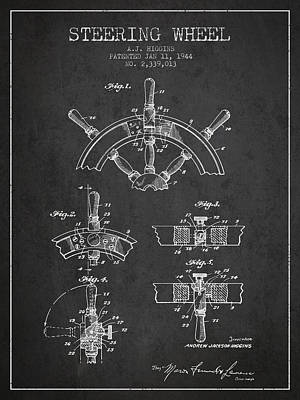 Steering Wheel Patent Drawing From 1944  - Dark Print by Aged Pixel