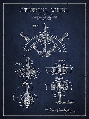 Steering Wheel Patent Drawing From 1944  - Navy Blue Print by Aged Pixel