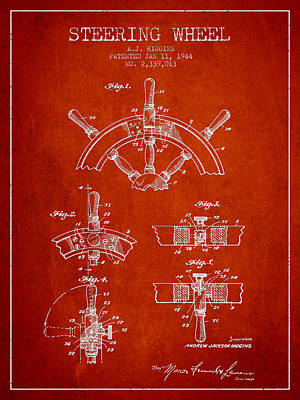Steering Wheel Patent Drawing From 1944  - Red Print by Aged Pixel