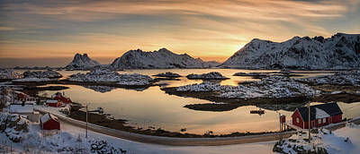 Sunset In Norway Photograph - Steinefjord At Sunset, Lofoten by Panoramic Images