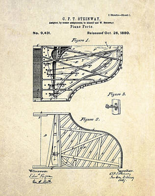 Patent Drawing - 1880 Steinway Pianoforte Patent Art  by Gary Bodnar