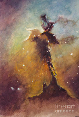 Stellar Spire In The Eagle Nebula Print by Allison Ashton
