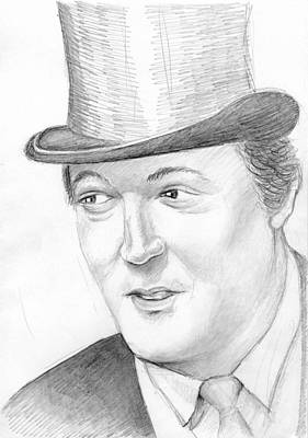 Fries Drawing - Stephen Fry Portrait by Alexander Smirnov