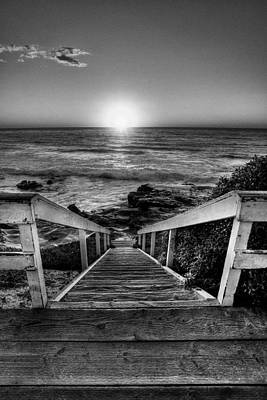California Beach Art Photograph - Steps To The Sun  Black And White by Peter Tellone