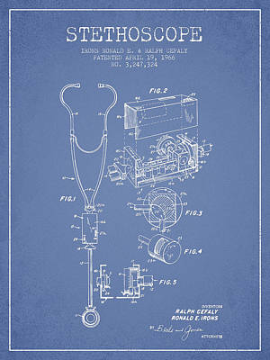 Stethoscope Patent Drawing From 1966- Light Blue Print by Aged Pixel