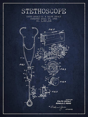 Stethoscope Patent Drawing From 1966- Navy Blue Print by Aged Pixel