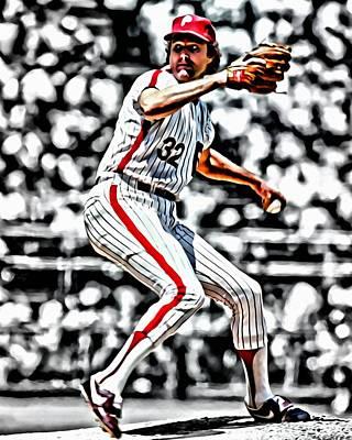 Baseball Pitchers Painting - Steve Carlton by Florian Rodarte