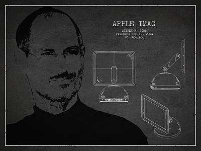 Ios Drawing - Steve Jobs Imac  Patent - Dark by Aged Pixel