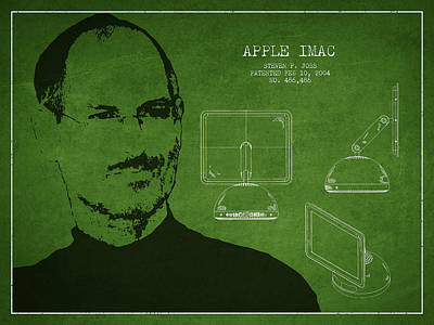 Steve Jobs Imac  Patent - Green Print by Aged Pixel